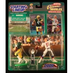 BRETT FAVRE / GREEN BAY PACKERS & DREW BLESOE / NEW ENGLAND PATRIOTS 2000 NFL Classic Doubles * Super Bowl Series * Starting Lineup Action Figures & Exclusive Collector Trading Cards (Toy)