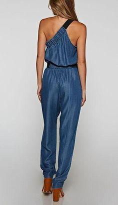 dc4642c64434 Asymmetrical Tencel Denim Jumpsuit – Posh Society Shirt Refashion
