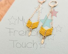Long beaded chevron earrings, japanese delica beads, 24k thin gold plated finding