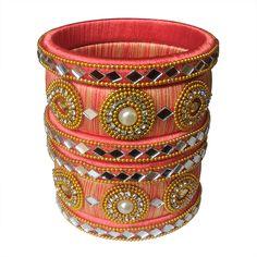 Silk Thread Bangles Design, Silk Thread Necklace, Beaded Necklace Patterns, Thread Jewellery, Jewelry Patterns, Kundan Bangles, Silk Bangles, Bridal Bangles, Fabric Basket Tutorial