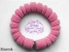 Bead crochet tube with some crochet stitches left unbeaded. браслет  вязать браслет столбиком и полустолбиком крючок
