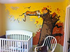 Calvin and Hobbes nursery. I could paint this all myself! I love it.