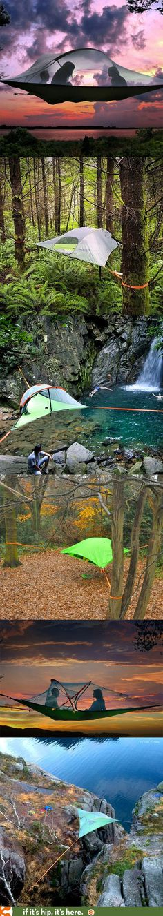 Camping Tents - Tentsile Tree Tents are amazing. These 3-point anchor suspended tents (and hammocks) allow you to camp with a great view and no crawly bugs, wetness or icky ground stuff!