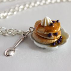 Blueberry Pancake Necklace- Food Jewelry - Miniature Food - Stack of Pancakes Necklace - Food Necklace by Dleesnow on Etsy https://www.etsy.com/listing/122326679/blueberry-pancake-necklace-food-jewelry