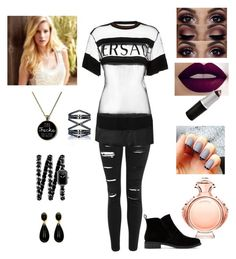 """""""Heather"""" by girlofharryes ❤ liked on Polyvore featuring Topshop, Versace, Lucky Brand, Paco Rabanne, Eva Fehren and Chanel"""