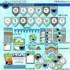 COOKIE MONSTER PARTY PRINTABLE COLLECTION http://mimisdollhouse.com/product/cookie-monster-party-printable-collection/