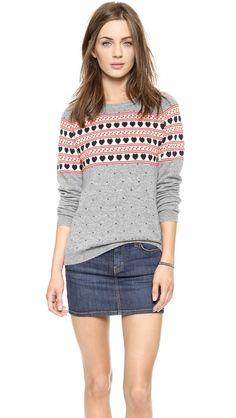 chinti and parker cashmere heart yoke sweater