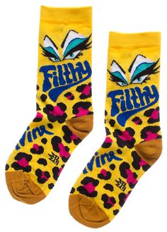 DIVINE FILTHY SOCKS - Get positively FILTHY with these officially licensed Divine socks! Featuring her signature eye makeup and a trashy leopard print pattern, these are perfect for wearing with your cha-cha heels. Sheer Socks, Print Patterns, Cloths, Eye Makeup, Style Me, Unisex, Heels, Drop Cloths, Makeup Eyes