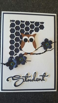 Studenter kort Owl Card, Punch Board, Crazy Cats, Cardmaking, Card Ideas, Stencils, Projects To Try, Scrap, Paper Crafts