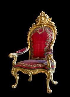 Throne of King Charles II, Spain (late 17th c.; gilded wood).