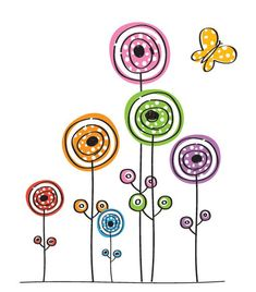 Flowers and Butterfly Vector Graphic — colorful, drawing, kids
