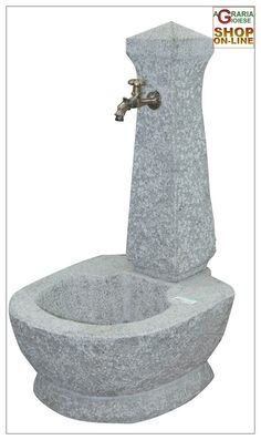FONTANA IN PIETRA GRANITO GRIGIO COMPLETA DI RUBINETTO http://www.decariashop.it/arredo-giardino/6355-fontana-in-pietra-granito-grigio-completa-di-rubinetto.html