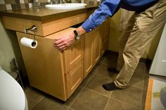 The vanity cabinet in this bathroom has been put on rollers. Should this bathroom need to be made wheelchair accessible, it is a simple matter to remove the cabinet to allow a wheelchair to roll under the sink. Design Awards Enable Aging in Place - US News