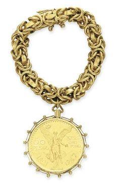 Elizabeth Taylor's 14k Gold Bracelet with 1947 Gold Peso Coin Pendant.