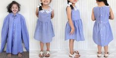 Father's Day Work Shirt Upcycle - Shirt to Toddler Dress DIY - Sewing for Girls