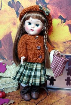 """*GiNGeRBReaD DReaMS*...a Handknit Sweater, Pleated, Plaid Skirt, Hat, and Gingerbread Basket for 7.5"""" Vogue Ginny Dolls-vintage or reproduction, Muffie, pre 2000 7.5"""" Madame Alexander dolls. Only one available at my Ebay now."""