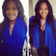 Love & Hip Hop – New York's Yandy Smith in our Tie Front Sleeveless Dress (left)