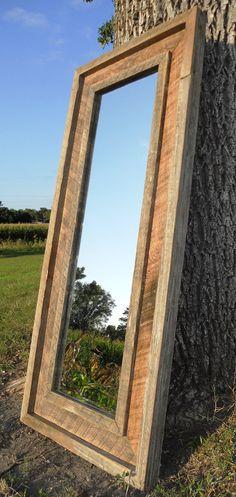 Reclaimed Barn Wood Full Length Standing Beveled Mirror. $480.00, via Etsy.