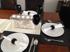 My black and white table decoration