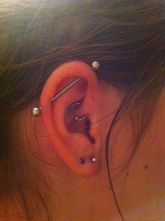 daith and industrial piercings done at perfect image in London Ontario :)