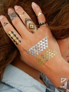 Geometric Jewelry, Modern Metallic Tattoos by ShimmerTatts are the perfect FALL fashion accessory www.ShimmerTatts.com #TemporaryTattoos