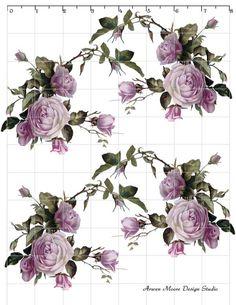 Beautiful Vintage Chic Shabby Purple Lavender Roses Waterslide Water Slide Miniature Decals ro-109. $9.99, via Etsy.