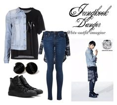 """""""Jungkook - Danger"""" by ewaporter ❤ liked on Polyvore featuring Golden Goose, VILA and Converse"""