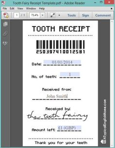 Printable tooth fairy receipt (can be edited with child's details). Printable tooth fairy receipt (can be edited with child's details). Tooth Fairy Receipt, Tooth Fairy Note, Tooth Fairy Pillow, Receipt Template, Invoice Template, Templates, Kids Corner, Toy Corner, Raising Kids