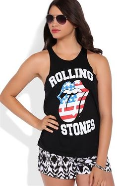 Deb Shops Sleeveless Deep Armhole Graphic Tank Top with Rolling Stones Screen $14.25