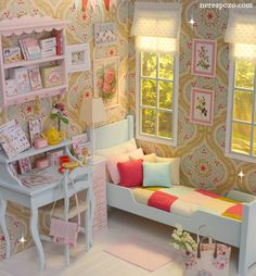 ♥ Handmade miniature diorama SPRING BOUQUET BEDROOM ♥ Is in 1/6 scale
