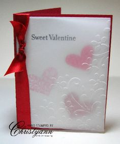 handmade Valentine card, red and white, vellum layer with embossing folder texture, hearts of various sizes on the background seen though the texture. Valentine Love Cards, Valentine Ideas, Valentine Heart, Karten Diy, Embossed Cards, Cool Cards, Creative Cards, Anniversary Cards, Greeting Cards Handmade