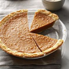 """Harvest Sweet Potato Pie Recipe -We baked pies a few days before holiday gatherings and placed them in a tall pie safe on our back porch. My father called this sweet potato pie recipe """"royal pie,"""" fit for a king with its deliciously different flavor. It's a hand-me-down recipe, a treasure in our family. —Fae Fisher, Callao, Virginia"""