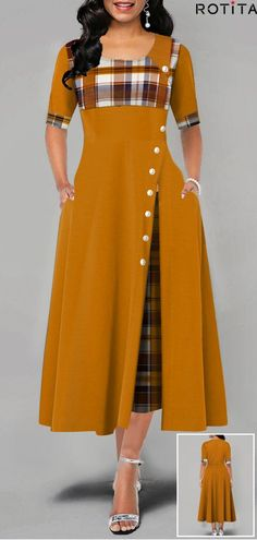 New Arrival Women Fashion Casual Irregular Plaid Print Button Maxi Dress Half Sleeve Round Neck Plus Size Party Dress Xmas Dresses, Sexy Dresses, Cute Dresses, Dress Outfits, Casual Dresses, Fashion Outfits, Christmas Dresses, Half Sleeve Dresses, Maxi Dress With Sleeves