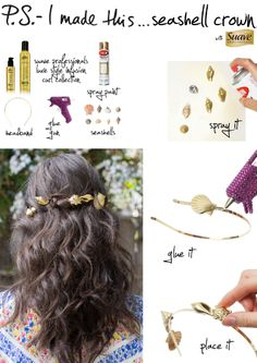 "The Queen of DIY, talks SIY on Learn how to Style It Yourself with some teasing and volumizing tips & tricks, and don't forget to give your look an ""Under the Sea"" make-over with this DIY Seashell Crown! Middle School Dance, Sea Hair, Seashell Crown, Sea Jewelry, Mermaid Crown, Under The Sea Theme, Beauty Advice, Crown Hairstyles, Diy Accessories"