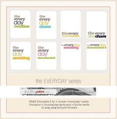"Freebie | ""Everyday"" Printable Journaling Cards"