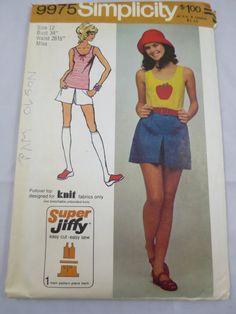 Pantskirt Shorts Tank Top Pattern  1972 by BonniesVintageAttic, $5.00