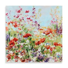 Flowers burst across the canvas in an impressionistic flurry in the Garden Glory Printed Wall Art. This giclee printed art features the hand touches of a professional artist that brings texture and vividness to the piece and your home.