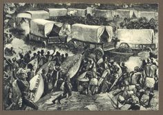 Artist's impression of the Battle of Blood River, in which the Boers won victory over the Zulus in recompense for the massacre of Piet Retief and company. Nelson Mandela, Zulu Dance, Francois Xavier, Today In History, Apartheid, My Land, African History, Trek, South Africa