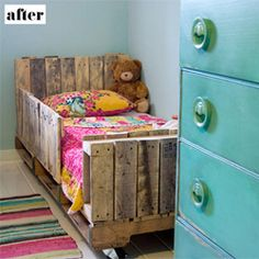 turned wooden pallets into an adorable bed for kid.
