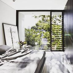Bringing the outdoors in with this gorgeous bedroom design by How beautiful is that oversized tree artwork just doing the lean against the wall This is an absolutely stunning bedroom with equally gorgeous art. I love the lean ✅ Happy Saturday all xx Home Window Grill Design, Window Design, Modern Interior Design, Interior And Exterior, Interior Designing, Interior Ideas, Interior Inspiration, Saint Claude, Louvre Windows