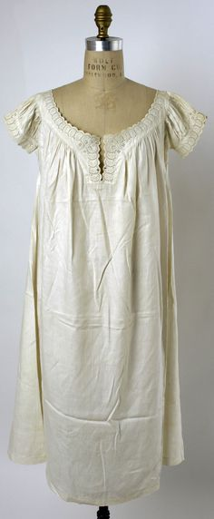 1860s American chemise in linen with broderie Anglaise at cuffs and yoke. Met Museum.