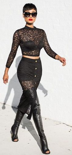 Everything Black Lace And Leather Chic Style by Micah Gianneli
