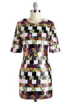 if i were a dress: bright colors, sequins, ADHD pattern | Good, Gleam Fun Dress, #ModCloth