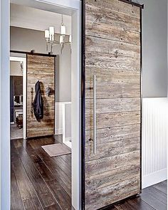 I'm thinking this urban barn door would look fabulous in the Joe's new office! Love the grey paint and white wainscotting too! . . . .#barndoor #modernfarmhouse #rusticfarmhouse #industrialrustic #industrialmodern