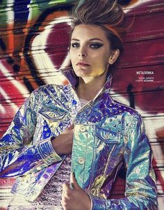 Hologram lather jacket  #hologram #trend #fashion #women #shine #holographic #silver #rainbow