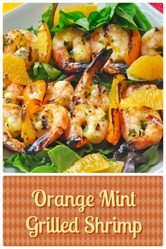Orange Mint Grilled Shrimp - a brightly flavored, super easy grilled shrimp recipe that makes a terrific appetizer course or with a summer salad as a delicious lunch or light dinner.