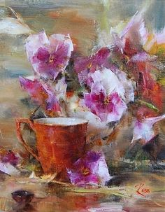 Cup with Spring Flowers by Laura Robb Oil ~ 10 x 8