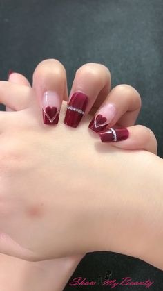 Valentine's Day Heart nail Designs for lover
