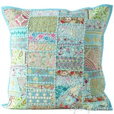 "20"" Blue Cushion Pillow Throw Cover with Patchwork Embroidered"