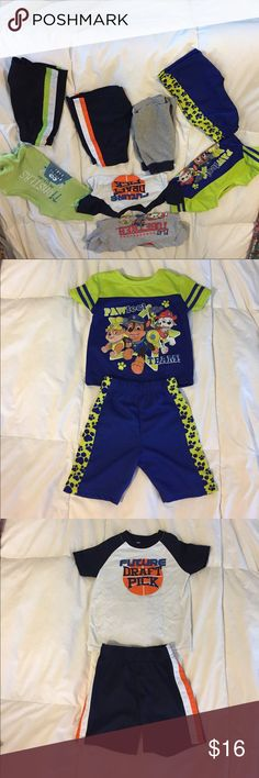 Toddler boy outfit bundle Listing is for all 4 outfits. Paw patrol shirts are 3T, green and blue paw patrol shorts are 3T. The grey shorts with navy band are an18-24 months but fit like a 2T. Monster shirt 2T future draft pick outfit is a 2T. Black shorts with green stripe are a 2T. Green and blue paw patrol and future draft pick are complete outfits. Others are shirts and shots I matched together. These are play clothes and have light stains. Matching Sets
